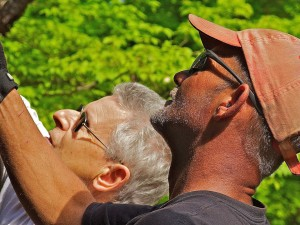 Color photograph of profile view showing heads of two men looking up to something outside the picture that they appear to be holding with their right arms above and slightly in front of them. Both are wearing sunglasses. The man closer to the camera wears an orange baseball cap and has has a strong sun tan. The second man has grey hair and a lighter tan.