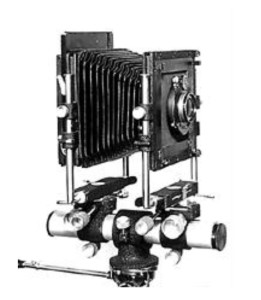 Black and white photograph of the original 1947 Sinar large-format bellows camera.