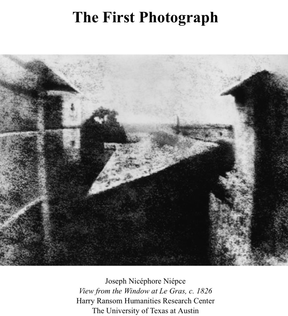 Black and white image showing the manually enhanced version by Helmut Gernsheim of The First Photograph by Joseph Nicéphore Niépce. View from the Window at Le Gras, c. 1826. Harry Ransom Humanities Research Center, The University of Texas at Austin