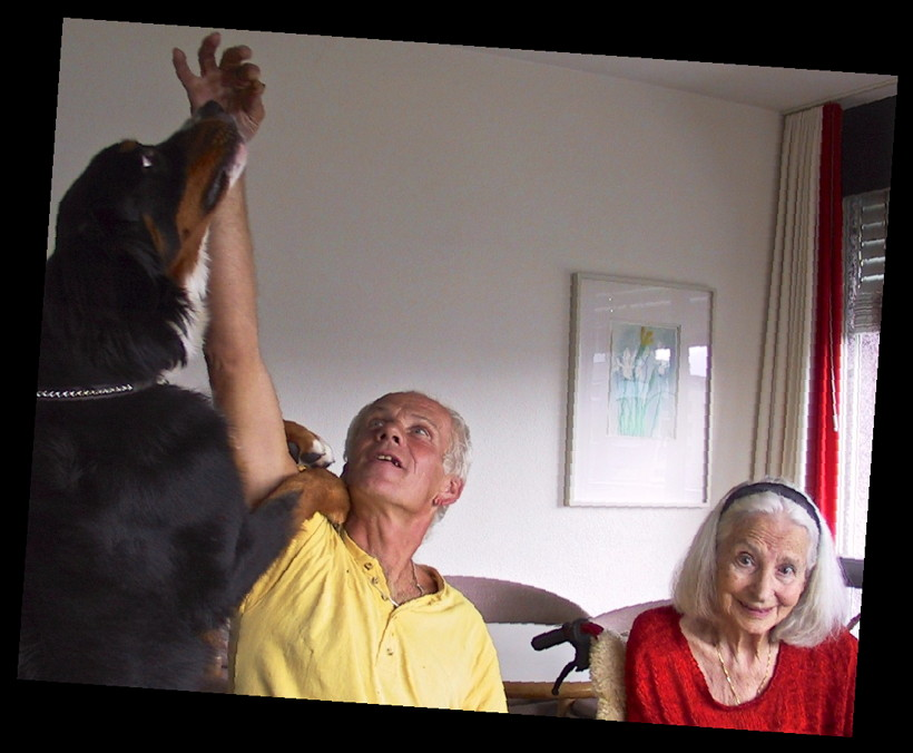 Color photograph of a Bernese mountain dog, a sitting middle-aged man in a yellow short-sleeve shirt, and an elderly woman with white hair and a red sweater, in a wheelchair. The man has his right arm stretched up as high as possible, holding a treat between his fingers. The dog is standing up, with her front legs wrapped around both sides of the man's arm and resting her paws on his shoulder, stretching her head toward the treat. The dog's and the man's eyes are focused on the treat; the woman is looking straight into the camera.
