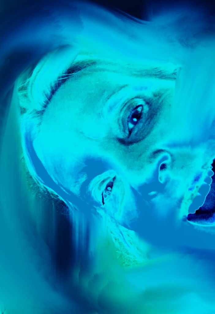 Surreal photodigital composition portrait of a woman's head primarily in blue and green tones. The head is shown with open mouth and bent to its right side by about 60 degrees.