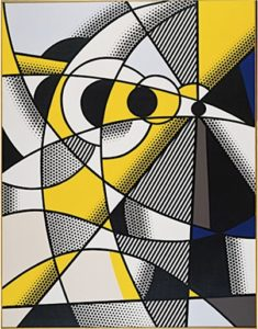 Abstract painting in black, yellow and white