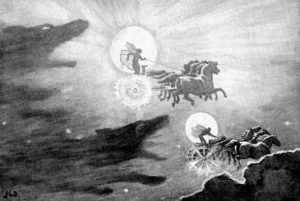 Black and white illustration of wolves chasing the sun and the moon, each getting carried through the sky on a horse-drawn chariot.