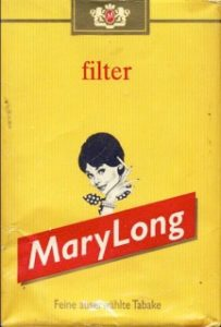 Yellow package of Mary Long filter cigarettes